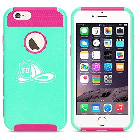 Apple iPhone 6 Plus / 6s Plus Shockproof Impact Hard Case Cover Firefighter Helmet (Light Blue-Hot Pink),MIP](Firefighter Helmet Lights)
