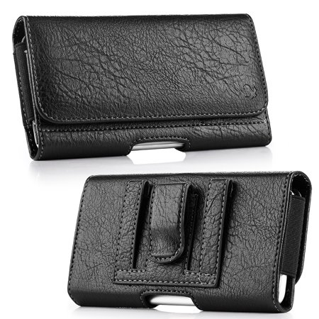 Luxmo Wallet Series Case for Nokia 2V (Verizon) - PU Leather Phone Belt Holster Carry Pouch with Card Slots/Coin Holders and Atom Cloth for Nokia 2V (Verizon) -