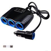 Eeekit Automotive 3 Socket Car Multi Cigarette Lighter Splitter With Usb Charger Adapter