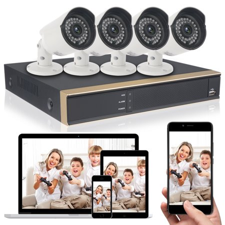 Color Cctv Night Vision (DID 4CH AHD 720P CCTV Camera Security System with 4 pcs IP Outdoor IR Night Vision Home Security Camera System White (Wireless Supporting iPhone & Android) )