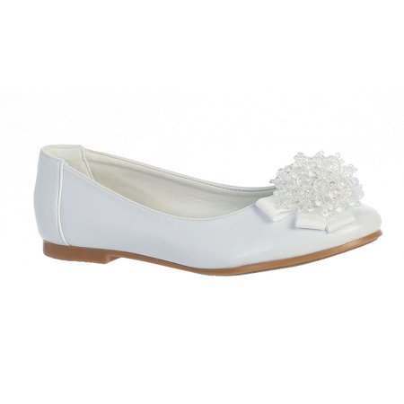 Girls White Crystal Bead Bow Anna Special Occasion Dress Shoes 11-4 Kids](Childrens Dress Shoes)