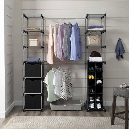 Mainstays Closet Organizer, 2-Tower 9-Shelves, Easy to Assemble, Black ()