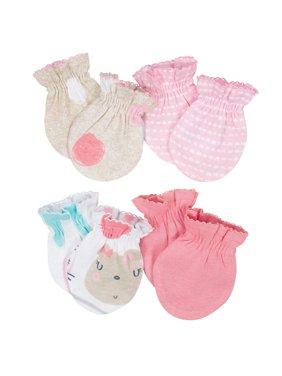 Organic Cotton Rib No Scratch Mittens, 4pk (baby girl)