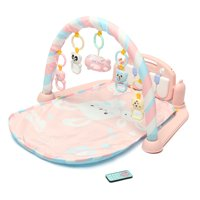 3 in1 Baby Play Mat Gym Newborn Infant Baby Musical Piano Play Mat Blanket Kids Activity Carpet Rug, Pink