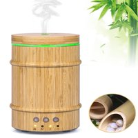 Real Bamboo Essential Oil Diffuser,150Ml Ultrasonic Aromatherapy Humidifier With 7 Colorful Led Lights And Waterless Auto Shut-Off For Home Office Yoga Spa Baby Room (Bamboo Diffuser)