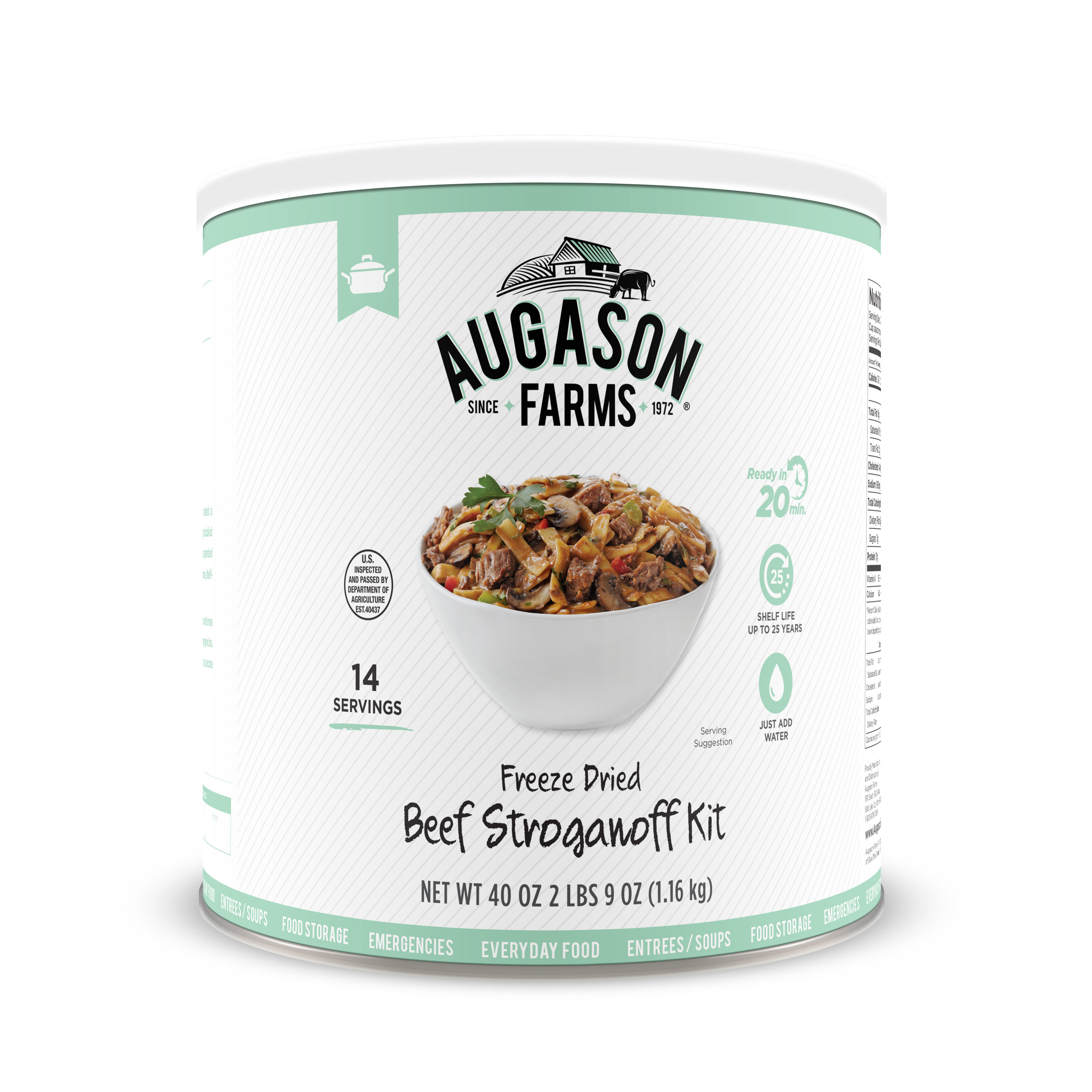 Augason Farms Freeze Dried Beef Stroganoff Kit 40. 96 oz No. 10 Can
