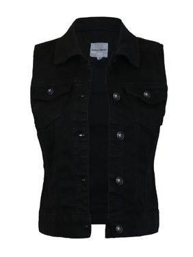 Made by Olivia Women's Sleeveless Button up Jean Denim Jacket Vest Black M