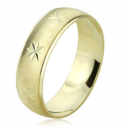 Men Women 14K Yellow Gold Wedding Band 6mm Machine Cut Patterned Ring 14k Gold Womens Wedding Band 6mm