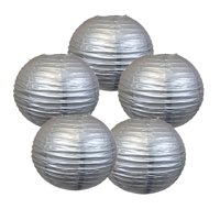 """Just Artifacts 18"""" Silver Paper Lanterns (Set of 5) - Decorative Round Paper Lanterns for Birthday Parties, Weddings, Baby Showers, and Life Celebrations"""