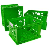 Storex Storage and Filing Crates with Comfort Handles, Case of 3