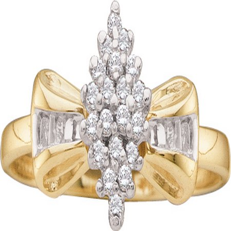 Size - 7 - Solid 10k Yellow Gold Round Baguette White Diamond Engagement Ring OR Fashion Band Prong Set Marquise Shaped Flower Ring (1/10 cttw)