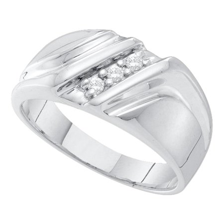 10k White Gold Mens Round Diamond Wedding Anniversary Band Ring Masculine 1/10 (Masculine Blend)