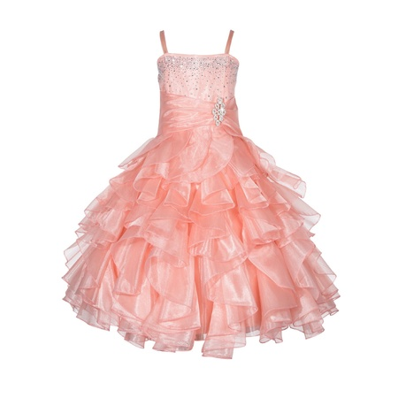 Ekidsbridal Rhinestone Organza Layers Flower Girl Dress Elegant Stunning Weddings Easter Special Occasions Pageant Toddler Birthday Party Holiday Bridal Baptism Junior Bridesmaid Communion 164S - Red Dress For Girl
