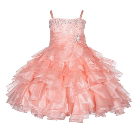 Ekidsbridal Rhinestone Organza Layers Flower Girl Dress Elegant Stunning Weddings Easter Special Occasions Pageant Toddler Birthday Party Holiday Bridal Baptism Junior Bridesmaid Communion - Ivory Dresses For Toddlers