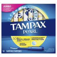TAMPAX Pearl, Regular, Plastic Tampons, Unscented, 50 Count