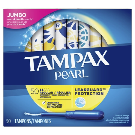 - TAMPAX Pearl, Regular, Plastic Tampons, Unscented, 50 Count