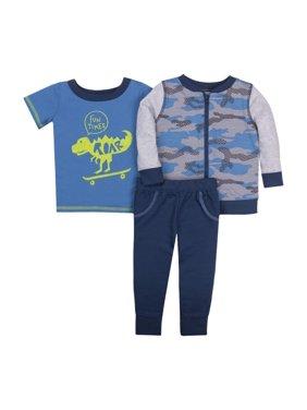 Newborn Baby Boy Hoodie, T-Shirt, & Pant 3pc Outfit Set