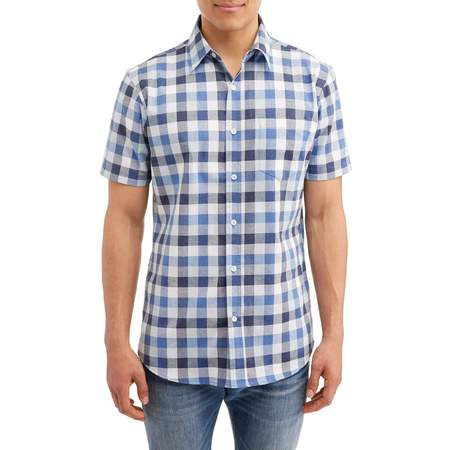 Mens Short Sleeve Plaid Shirt (Lee Men's Plaid Short Sleeve Casual Stretch Button Down Shirt, Available Up to Size)