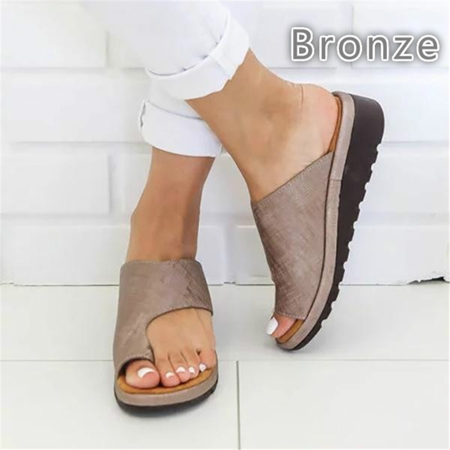 Extra Wide Leather Sandals - Bunion Corrector, Women Comfortable Soft PU Leather Sandals and Slippers with a Platform Wedge, Mother's Day gifts(Bronze,43)