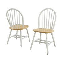 Better Homes and Gardens Autumn Lane Windsor Solid Wood Dining Chairs, Set of 2, White and Oak