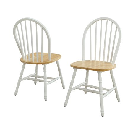 Spindle Windsor Chair - Better Homes and Gardens Autumn Lane Windsor Solid Wood Dining Chairs, White and Oak (Set of 2)
