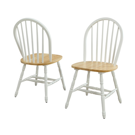 Better Homes and Gardens Autumn Lane Windsor Solid Wood Dining Chairs, Set of 2, White and Oak - Maple Wood Finish Chair