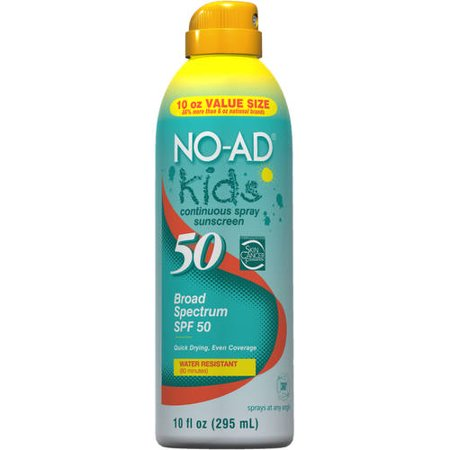 No-Ad Kids Continuous Spray Sunscreen SPF 50, 10.0 Fl