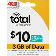 Total Wireless™ $10 Add-on Carryover® 3 GB Data Wireless Internet Connection Service Plan Card