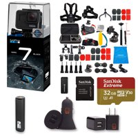 GoPro HERO 7 Black Action Camera + 47 Piece Accessory Kit + 32gb Extreme Micro SD + Card Reader + PowerBank + Dual USB