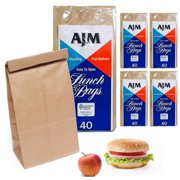 869b224d845 200 Brown Paper Bags Snack Kraft Bag Lunch Merchandise Grocery Party Office  New