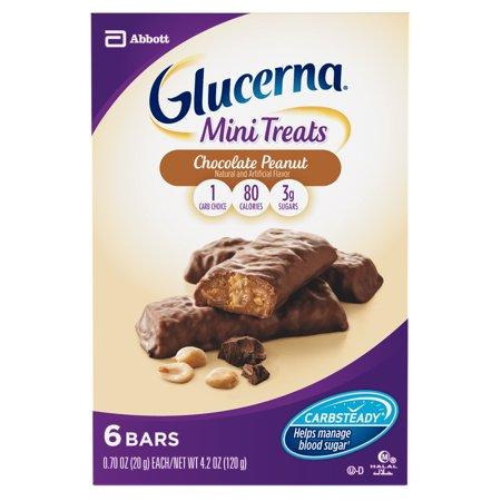 Glucerna Mini Treat Bars, To Help Manage Blood Sugar, Chocolate Peanut, 0.70 oz, 6 count