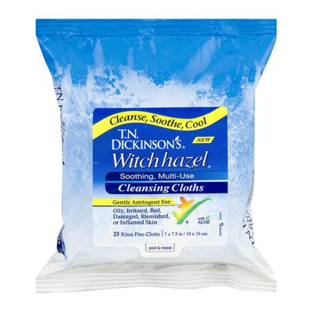 T.N. Dickinson's Witch Hazel Cleansing Cloths - 25 - Cleansing Astringent Towelettes Dickinsons