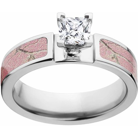 AP Pink Women's Camo 1 Carat T.G.W. Princess CZ in 14kt Whit Gold Prong Setting Cobalt Engagement Ring with Polished Edges and Deluxe Comfort Fit