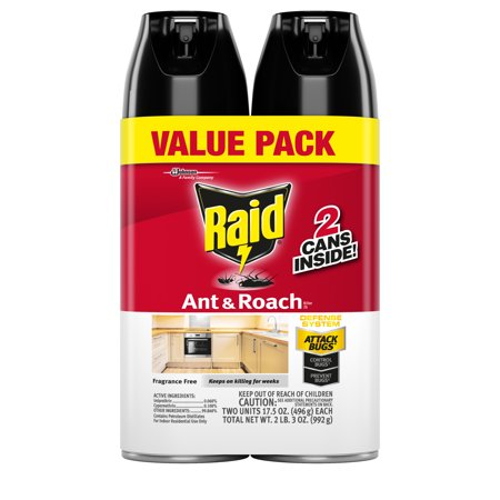 - Raid Ant & Roach Killer 26, Fragrance Free, 17.5 oz (2 ct)