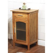 Bamboo Linen Floor Cabinet With Gl Door 23037nat