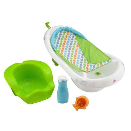 Fisher-Price 4-in-1 Sling Seat Convertible Baby Bath Tub, Green (Baby Tub Owl)