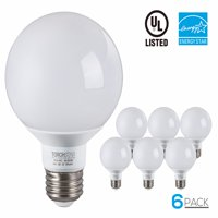 6 Pack G25 Globe LED Light Bulb, 5W (40W Equiv.), 5000K Daylight,E26 Medium Base, 3-Year Warranty