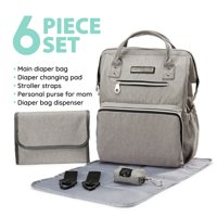 SoHo Collections, Wide Opening Designer Unisex Diaper Bag Backpack with Stroller Straps, 6 Piece Set (Light Gray)