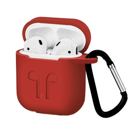 Waterproof AirPods Silicone Case Protective Cover for AirPods Charging Case with Carabiner Keychain Belt Clip