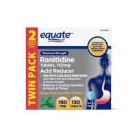 Equate Ranitidine Acid Reducer Cool Mint Tablets, 150mg, 2PK (65 ea.)