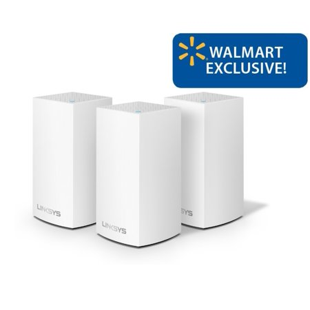 Linksys Velop Whole Home Intelligent Mesh WiFi System, 3 Pack White, Easy Setup, Maximize WiFi Range & Speed for all your devices