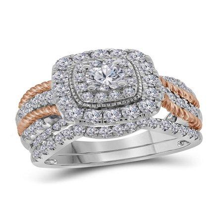 14k White Gold 2-tone Round Diamond Certified Double Halo Bridal Wedding Roped Ring Band Set 1-1/2 (Certified Diamond Band Ring)