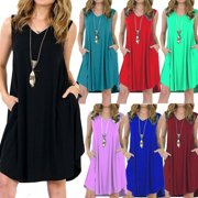 83be1eaf1393 Women Summer Casual Solid Color Loose Sleeveless Beach Tank Top A-line  Pocket Dress