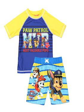 Nick Jr Paw Patrol Toddler Boys' Swim Trunk and Rash Guard Set