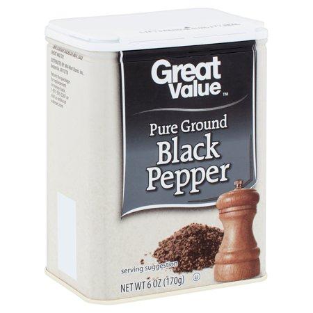 Tellicherry Black Pepper - Great Value Pure Ground Black Pepper, 6 oz