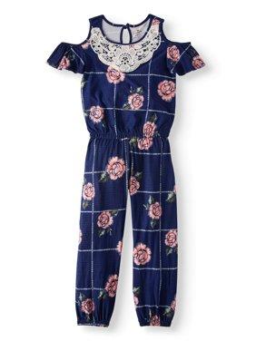 Lace Trim Floral Jersey Jumpsuit (Little Girls & Big Girls)