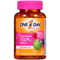 One A Day VitaCraves Teen for Her Multivitamin Gummies Supplement with Vitamins A, C, E, B3, B6, B12, Calcium and Vitamin D, 60 ct