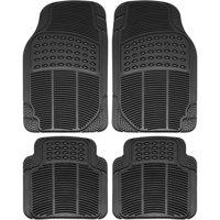 OxGord 4-Piece Full Set Ridged Heavy Duty Rubber Floor Mats, Universal Fit Mat for Car, SUV, Van & Trucks, Front & Rear, Driver & Passenger Seat, Black