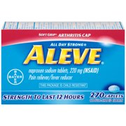 Aleve Soft Grip Arthritis Cap Pain Reliever/Fever Reducer Naproxen Sodium Caplets, 220 mg, 270 Ct