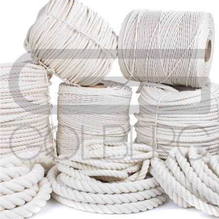 - Golberg 100% Natural Cotton Rope - 5/32, 3/16, 7/32, 1/4, 5/16, 3/8, 1/2, 5/8, 3/4, 1, 1-1/4, and 1-1/2 Inch Diameters - Twisted White Cotton Rope - Several Lengths to Choose From